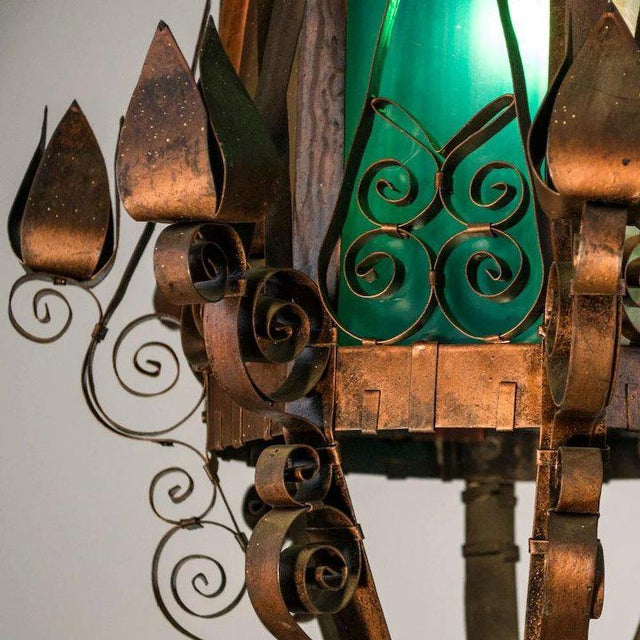 Mid 20th Century Mid Century Spanish Revival Copper Lantern with Green & Rose Colored Glass For Sale - Image 5 of 10