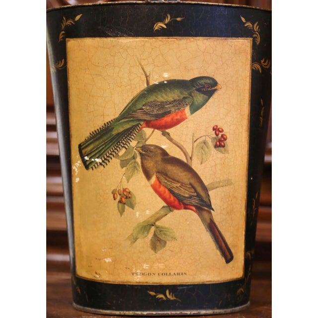 French Mid-Century French Hand Painted and Gilt Tole Basket With Bird Decor For Sale - Image 3 of 12
