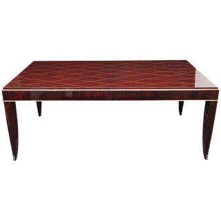 Art Deco Rosewood and Gilded Albert Fournier Dining Table With Brass Accents For Sale