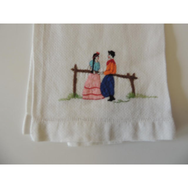 Vintage Pink and Orange Embroidered Bathroom Guest Towel. 100% Linen Depicting couple with traditional costumes. Size: 20...