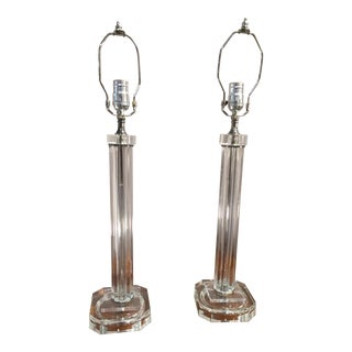 Vintage Fluted Glass Column Lamps - a Pair