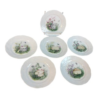 1970s Vintage CNP France Cheese Serving Plates- Set of 6 For Sale