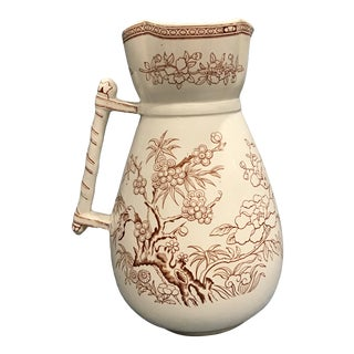 Argyle Antique Brown and White Transferware Pitcher by E.M and Company For Sale