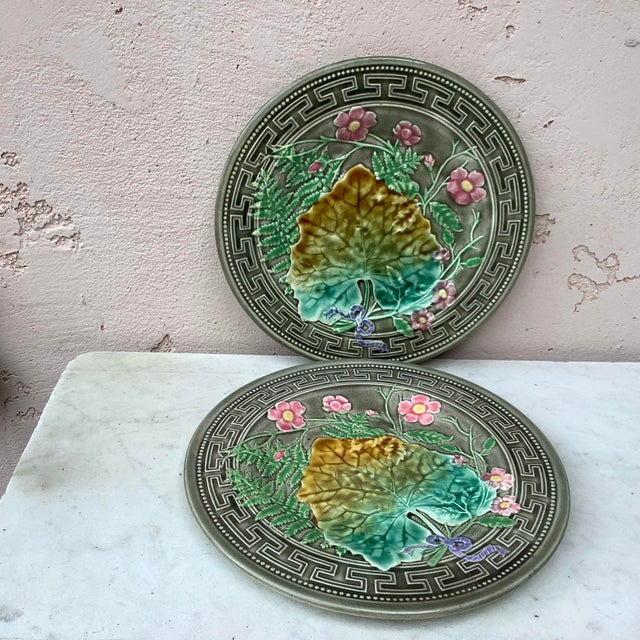 19th Majolica Leaves and Pink Flowers Plate Choisy Le Roi For Sale In Austin - Image 6 of 7