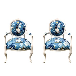 Kreiss Chairs in Madcap Cottage Pug Fabric - A Pair For Sale