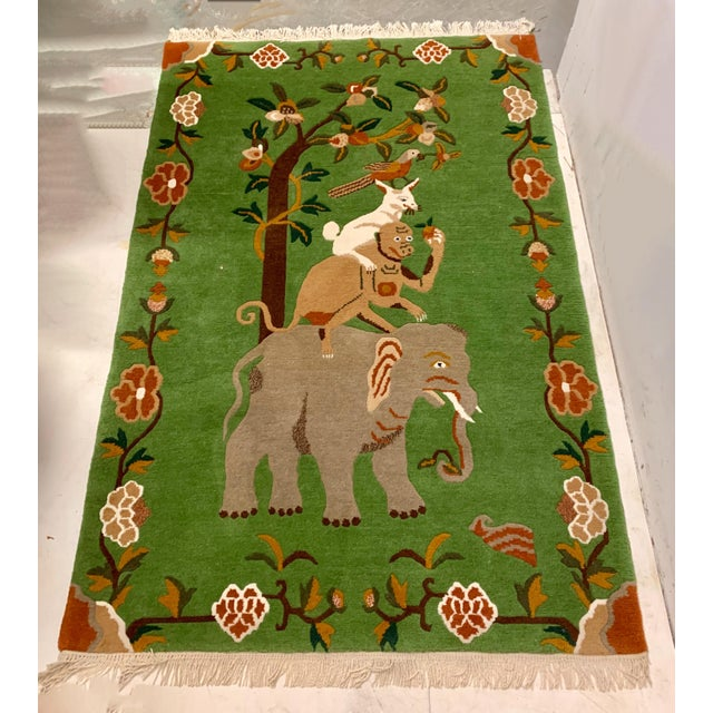Elephant & Monkey Hand Knotted Wool Rug For Sale - Image 4 of 7