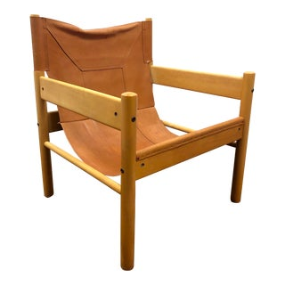 1960s Vintage Otto Gerdau Leather Sling Chair For Sale