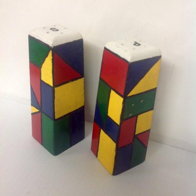 FREE SHIPPING UNTIL DECEMBER 20! Piet Mondrain Style Wooden Salt & Pepper Shakers. Multi color cubist design after Piet...