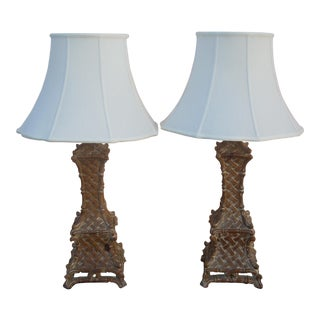 French Country Wooden Lamps - a Pair For Sale
