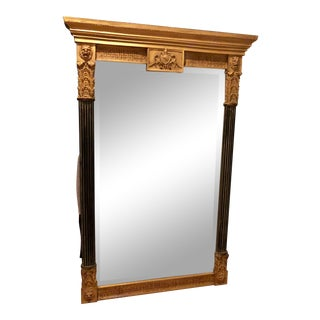Vintage Mid Century Neoclassical Style Large Wall Mirror For Sale