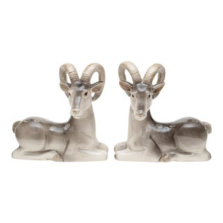 1970s Fitz and Floyd Ceramic Ram Bookends - a Pair For Sale