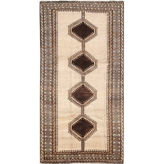 "Persian Gabbeh Zahed Wool Runner Rug - 4'5""x 8' For Sale"