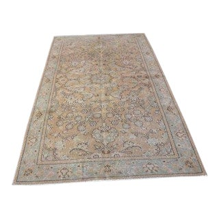 1960s Vintage Turkish Oushak Rug - 4′4″ × 7′9″ For Sale