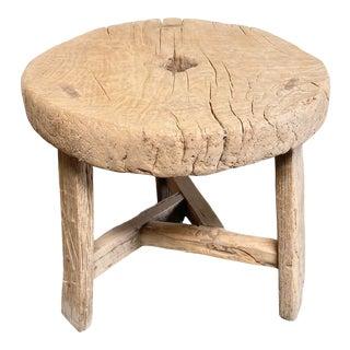 Vintage Elm Wood Wheel Side Table For Sale