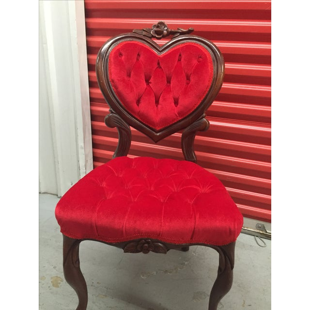 Victorian Vintage Red Heart Back Chair For Sale - Image 3 of 5