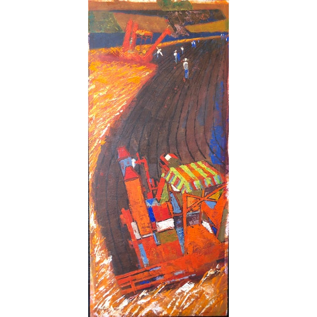 Blue Mid Century Farm Scene Painting For Sale - Image 8 of 8