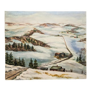 Vintage Oil Landscape Painting of Snowy Country Scene on Canvas, Signed by Artist Tompkins