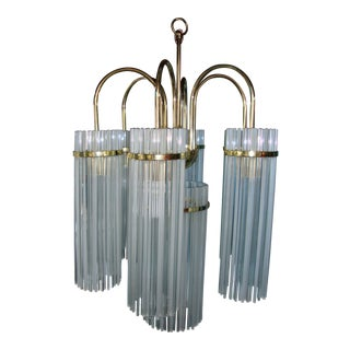1970's Art Deco Revival Brass and Glass Rod Chandelier For Sale