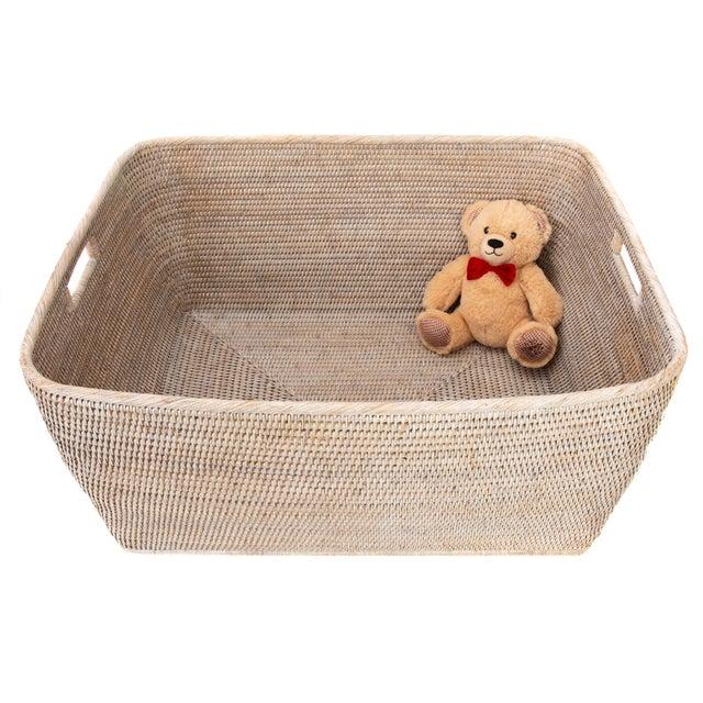 "Artifacts Rattan Rectangular Basket 28""x22x13"" For Sale - Image 4 of 5"