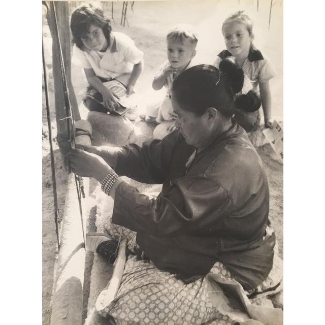 "1950s Navajo Blanket Weaver Original Photograph 16"" X 20"" For Sale"