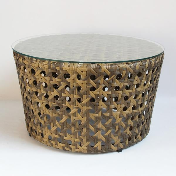 Offering A Two Tone Synthetic Rattan Weaved Round Piece That Works Great As  A Coffee Table