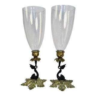 Vintage Harvin Brass Hurricane Candle Holders - a Pair For Sale