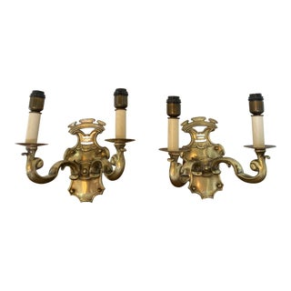 Solid Cast Brass Sconces - a Pair For Sale
