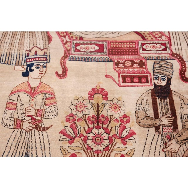 Pictorial Antique Persian Kerman Rug - 4′8″ × 7′6″ For Sale - Image 12 of 13