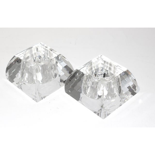 Vintage Oleg Cassini Faceted Crystal Pyramid Votive Candle Holders - a Pair -With Original Gift Boxes For Sale - Image 10 of 10