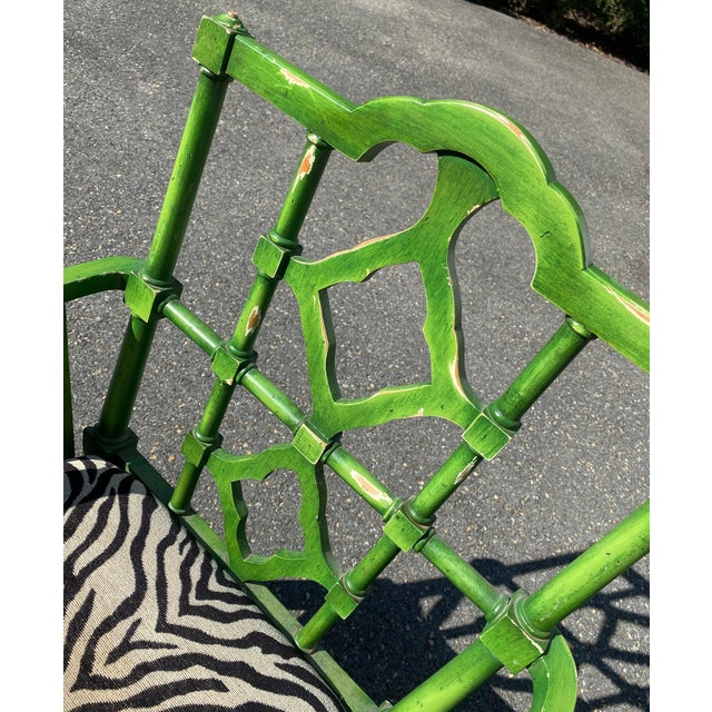 Vintage Hollywood Regency Green Pagoda Chairs with Zebra Fabric - a Pair For Sale - Image 4 of 13
