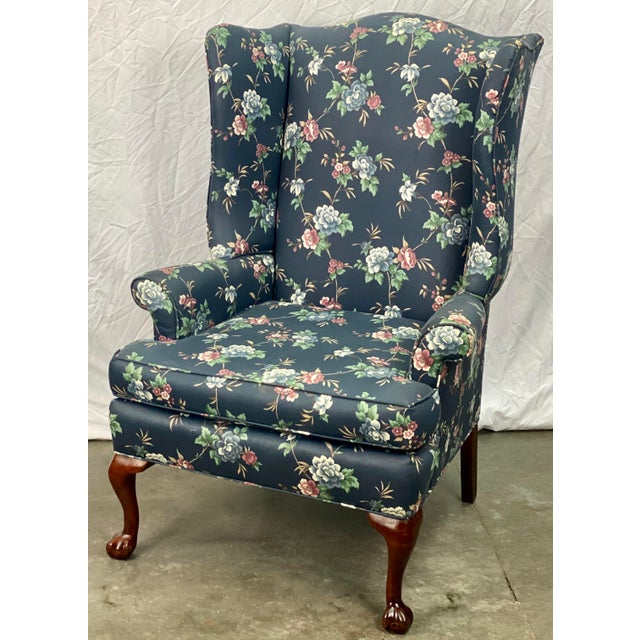Vintage Chippendale Style Ball Claw Foot Floral Silk Upholstered Wingback Chair Chairish