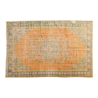 "Vintage Distressed Oushak Carpet - 6'4"" X 9'7"" For Sale"