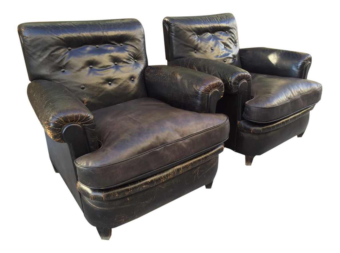 Pair 1930s English Leather Club Chairs For Sale