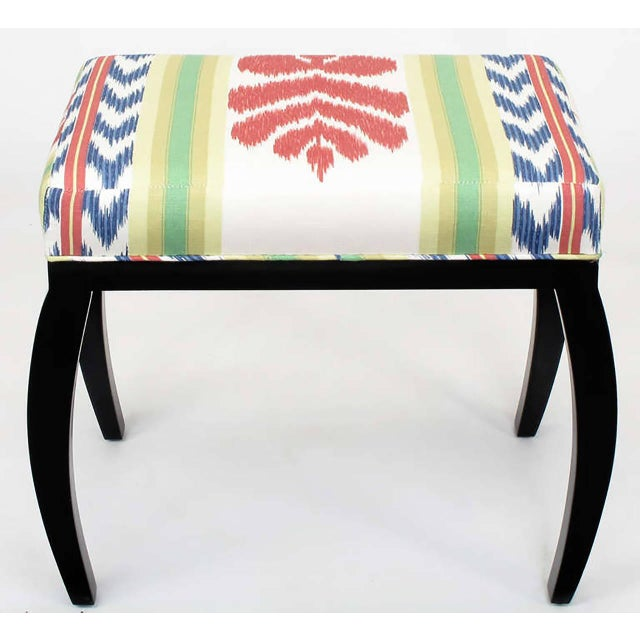 Pair of Interior Crafts Black Lacquer and Ikat Benches - Image 3 of 8