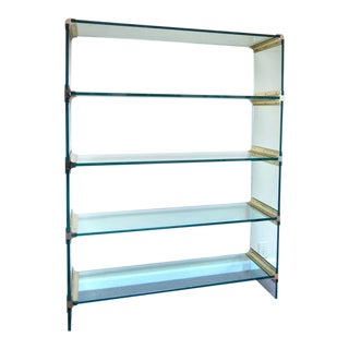 Mid-Century Modern Brass and Glass Display Etagere in the Style of Pace For Sale