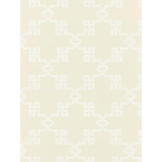 Sample, Scalamandre Suzhou Lattice, Alabaster Wallpaper For Sale