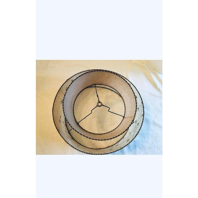 Eggshell Vintage Mid-Century Modern Starburst Atomic 2 Tier Fiberglass Lamp Shades - a Pair For Sale - Image 8 of 12