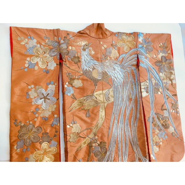 Vintage Brocade Japanese Ceremonial Kimono in Orange, Gold and Silver For Sale - Image 4 of 13