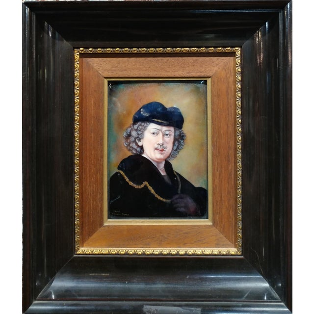 Realism Faure Limoges - Rembrandt Self Portrait - French Enamel Painting on Copper For Sale - Image 3 of 9