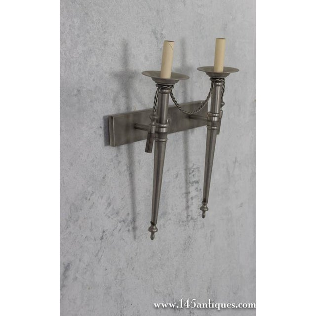 Pair of Nickel-Plated Sconces - Image 5 of 11