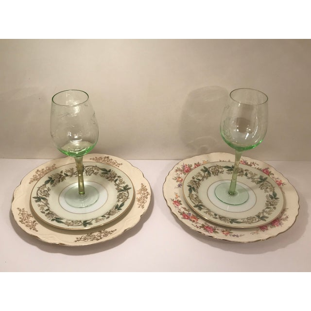 1940s 1940s Shabby Chic Multi Color Table China and Goblets - 6 Pieces For Sale - Image 5 of 6