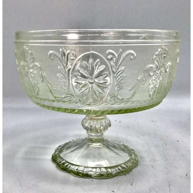 Glass 1940s Art Deco Pressed Sandwich Glass Compote Bowl For Sale - Image 7 of 7