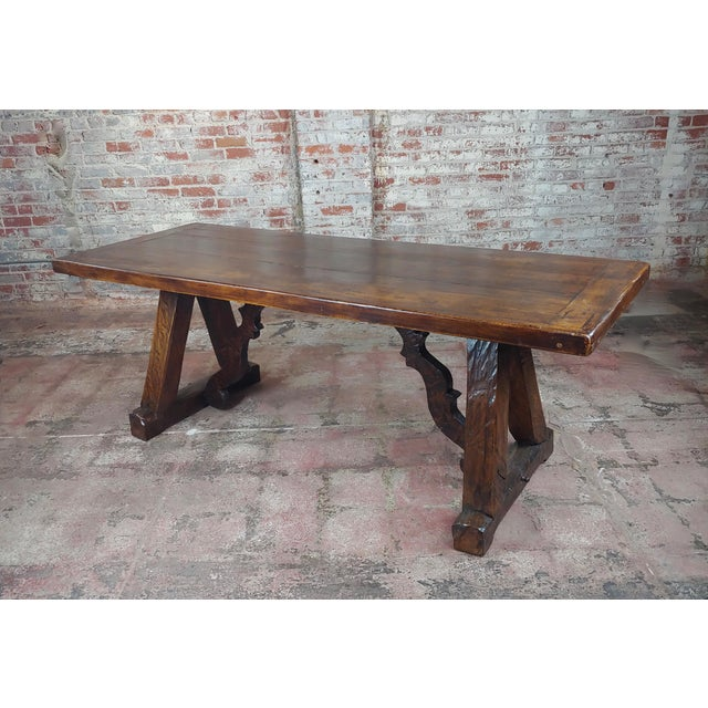 1960s Spanish Colonial Gorgeous Walnut Dining Table For Sale - Image 10 of 10