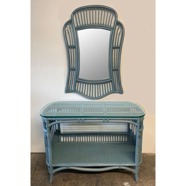 Blue Rattan and Wicker Console Table and Mirror For Sale - Image 8 of 8