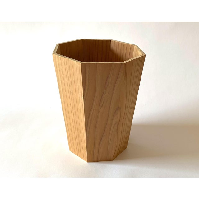 2010s Handmade Octagonal Japanese Cedar Waste Bin For Sale - Image 5 of 5