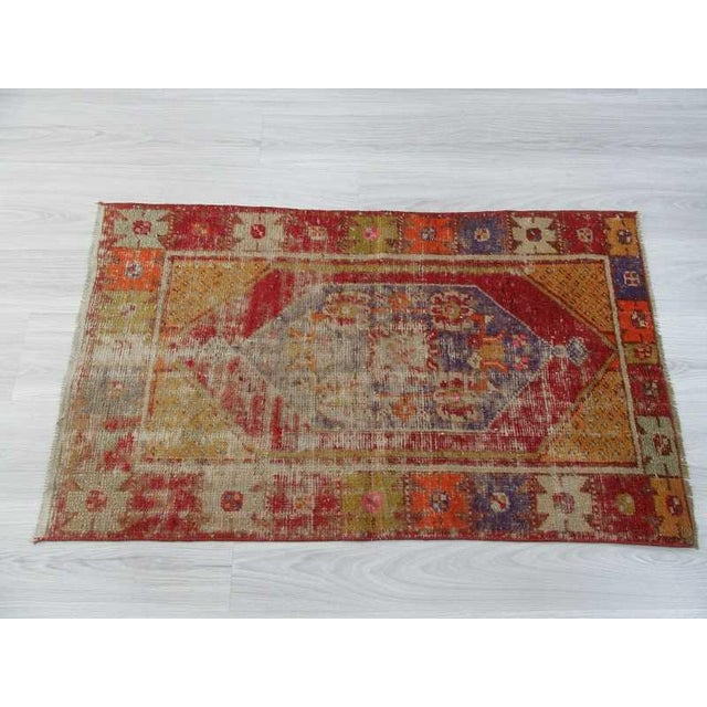 """Vintage Distressed Colorful Small Turkish Rug - 28"""" X 48"""" For Sale - Image 4 of 6"""