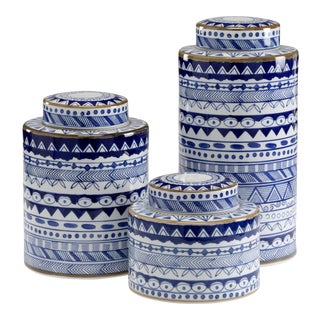 Blue And White Canisters, Set of Three For Sale
