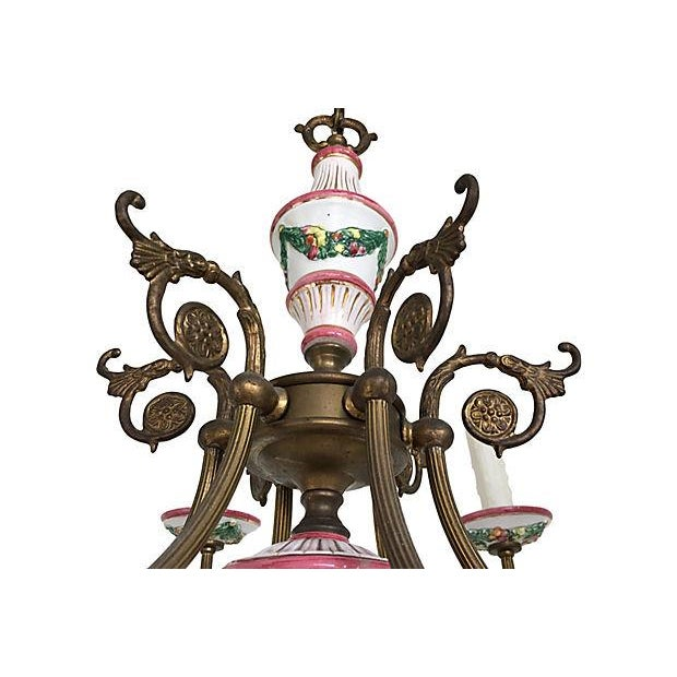 1940s 1940s French Porcelain Chandelier For Sale - Image 5 of 6