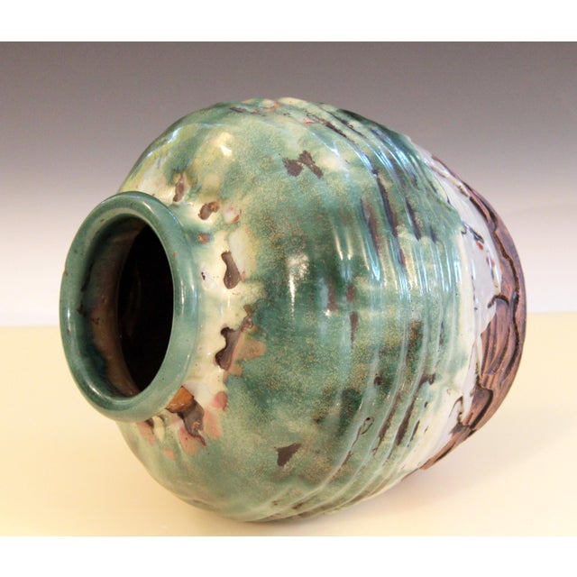Awaji Pottery Manipulated Jar Heavy Drip Lava Glaze Wabi Sabi Tea Ceremony Vase For Sale In New York - Image 6 of 12
