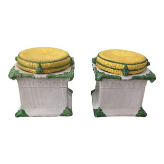 1920s Italian Glazed Terra Cotta Loggia Greek Key Garden Stools W/ Removable Tops - a Pair For Sale